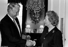 The meeting of great minds Boris Yeltsin greeting Margaret Thatcher