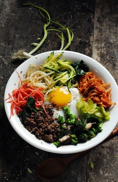 Bibimbap Note: poured boiling water from kettle on carrots and spinach to slightly cook them
