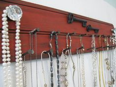 Rustic Jewelry Holder - 24 Inches Long -Metal Keys Distressed Necklace Storage Organizer Holder red Wall Mounted Glass Crystal Knobs ho