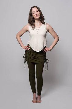 8e9e80ed7f54b Skirted Leggings - Womens Leggings - Hemp Leggings - Ruched Skirt -  Adjustable Skirt - Hemp, Organic Cotton - Natural Leggings - Cinch Skirt