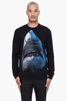 Givenchy Black Shark Print Sweater for men   SSENSE
