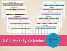 Printable 2016 Monthly Calendar Editable by MBucherConsulting Printable Calendars, Printable Planner, Printables, 2016 Calendar, Marketing Consultant, Monthly Planner, Trip Planning, Planners, Organization