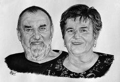Portrét páru - dědeček s babičkou