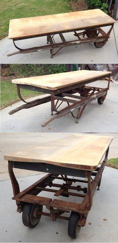 Antique Vintage Wood Barrel Industrial Dolly Hand Cart