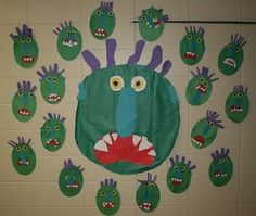 Today was Green Day! Green day is a always a blast because we do some really fun activities with the book Go Away Big Green Monster by Ed E. Kindergarten Colors, Kindergarten Language Arts, Kindergarten Activities, Preschool Ideas, Teaching Ideas, Color Activities, Autumn Activities, Monster Shapes, Big Green Monster