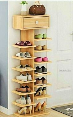 If you need a shoe rack in your home than rather than buying it start making it yourself because it's an easy thing to do, the below picture have a shoe rack in it on which multiple shoes are place together. Rather than placing shoes, one can also place decorative items on the rack to rock.