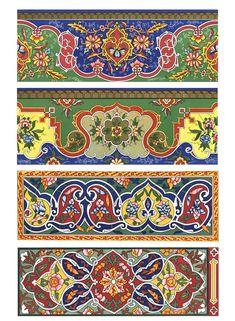 Russian Ornament of the Tadjik Culture by Dover from Dover Publications Ut agnita est verus, Abstract Pattern, Pattern Art, Pattern Design, Islamic Art Pattern, Chinese Patterns, Persian Motifs, Dover Publications, Border Design, Fabric Painting