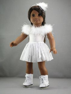 """American Girl doll clothes - 3 piece Ice skate / Dance / Ballet outfit (fits 18"""" doll) (445wht)"""