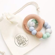 SINGLE RATTLE Silicone and Beech Wood Teether - Teethers - ONE.CHEW.THREE Boutique teething, modern accessories