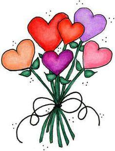 Hearts bouquet Painted rock idea