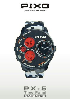 PIXO, PX-5 Time Panel, Dual time display, strong and heavy duty design, multi-eyes design, multi-funciton includes: Stopwatch, Alarm and hourly chime. Please see the details at : http://www.pixowatch.com/PIXO-PX-5  #pixo #PX_5 #watch #design #watchdesign #pixowatch #timepanel #newdesign