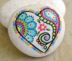 Hand Painted Abstract Heart Flower Paisley Art River Rock Stone, puntillismo, point to point, dot art