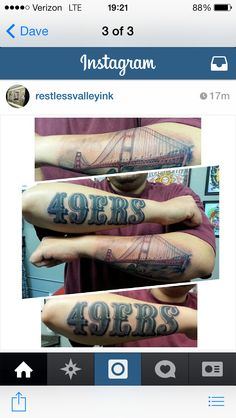 San Francisco 49ers Tattoo SF Niners Bridge Tattoo, Sf Niners, 49ers Fans, San Francisco 49ers, Treasure Chest, Tattos, Selena, Body Art, Piercings