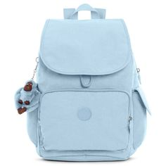 Kipling Ravier Medium Backpack (1,455 MXN) ❤ liked on Polyvore featuring bags, backpacks, serenity, blue bag, day pack backpack, strap bag, blue backpack and kipling rucksack