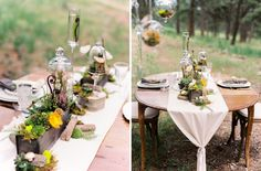 The linens were tied with mushrooms and the rustic centerpieces were overflowing…