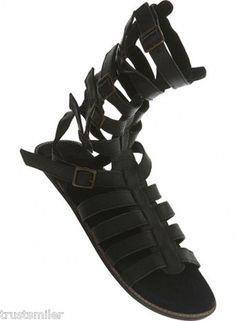 TOPMAN Mens Black Ultra High Gladiator Sandal