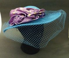 TRUE VINTAGE Veiled SONNI Cornflower Blue Wool Ladies' Hat ~ purple & yellow bow
