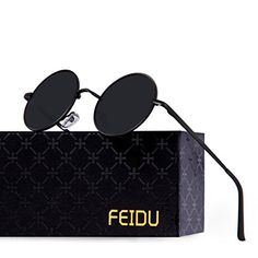c01ecad285 us  FEIDU-Men Round Retro Polarized Sunglasses Women Vintage Sunglasses  (Black Black