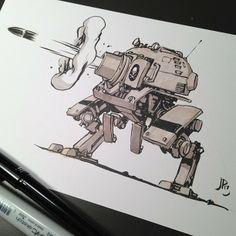 Heavy artillery Mech from the first Martian Civil War. Character Concept, Character Art, Cyberpunk, Robot Sketch, Robots Drawing, Cuadros Star Wars, Arte Robot, Robot Concept Art, Robot Design