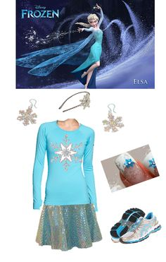 Elsa from Frozen - Snowflake Headband and Earrings @ etsy.com; Compression Top @ nike.com; Running Skirt @ sparkleskirts.com; Asics Running Shoes @ zappos.com; Snowflake Applique DIY
