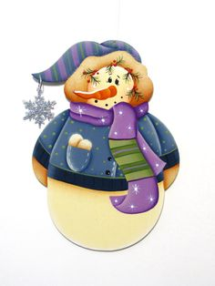Snowman with Purple Scarf Ornament, Handpainted Wood. $6,95, via Etsy.