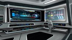 Scifi command terminal on a spaceship bridge
