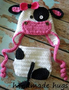 Crochet Moo Cow Hat  with Matching Diaper Cover  by myhandmadehugs, $27.00