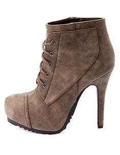 Burnished Lace-Up High Heel Combat Booties: Charlotte Russe