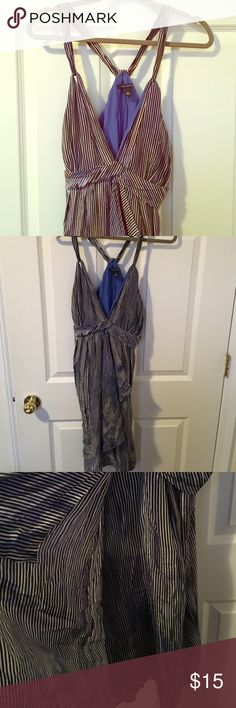 Banana Republic Twist Dress - 12 So cute. Striped Dress with purple/blue ish accent. Banana Republic Dresses Mini