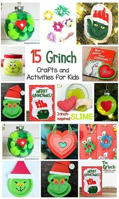 15 Grinch Inspired Crafts for Kids and Grinch Activities for kids- perfect for Christmas! Homemade Grinch greeting card, Grinch ornaments and more! Grinch Christmas Decorations, Grinch Ornaments, Christmas Arts And Crafts, Christmas Activities For Kids, Craft Activities For Kids, Toddler Christmas Crafts, Santa Crafts, Holiday Crafts For Kids, Kids Crafts