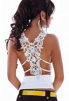 Top Women's Sexy White Top - Open Crochet Lace to back figure hugging top New Zabardo