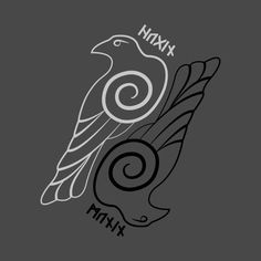 Shop Hugin & Munin odin t-shirts designed by JalbertAMV as well as other odin merchandise at TeePublic. Norse Runes, Viking Symbols, Viking Runes, Norse Mythology, Head Tattoos, Body Art Tattoos, Tribal Tattoos, Thai Tattoo, Maori Tattoos
