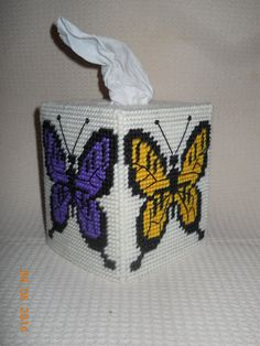 Butterfly Tissue box cover in plastic canvas by SpyderCrafts