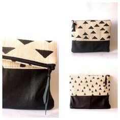 Fold over clutch purse Hand painted Linen canvas