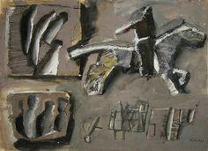 Mario Sironi (Italy 1885-1961), Composizione con cavallo e cavaliere, gouache and ink on paper, 1953. Sold by Christie's Milano, 2007.