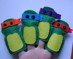Items similar to teenage mutant ninja turtles finger puppets leonardo michael angelo raphael donnatelo on Etsy Felt Puppets, Felt Finger Puppets, Hand Puppets, Felt Diy, Felt Crafts, Crafts To Make, Crafts For Kids, Ninja Turtles, Ninja Turtle Party