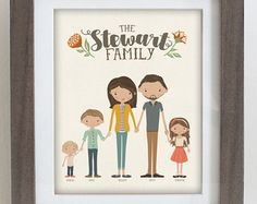 Mothers Day Gift Custom Illustrated Family by InkLaneDesign