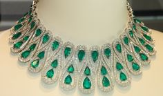 Emerald and diamond necklace seen in a Bond Street jeweler, UK