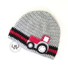 Tractor Crochet Boy Hat with Felt Appliqué  by HunkyDoriBoutique