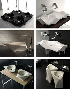 wash basins straight off startrek's the enterprise! sleek and unique