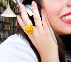 Items similar to Spring - Summer Flower Bucket Ring on Etsy Summer Flowers, Yellow Flowers, Outdoor Gardens, Bucket, Spring Summer, Stud Earrings, Etsy, Handmade, Ring