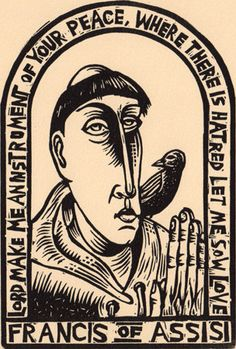 Saint Francis of Assisi linocut Christianity peace by wORKINGaRTs