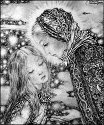 """Vom Marienkind, by Sulamith Wülfing from """"Die Truhe"""", Band VII Sketch Painting, Children's Book Illustration, Beautiful Paintings, Cat Art, Unique Art, Illustrators, Fantasy Art, Fairy Tales, Drawings"""