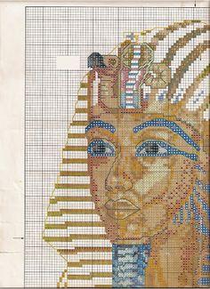 Esquemas busto Tutankamon punto de cruz  1a