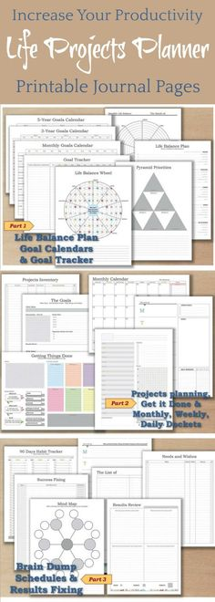 Increase your productivity! Life Projects Planner Bundle ~ planner PDF template 2018 Undated calendar bullet journal download day diary pages weekly notebook worksheet _ Re-Size is FREE ~ Instant download #affiliate #bulletjournalcollection #plannerprintable #productivity