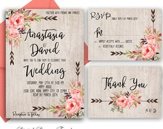 Boho Floral Wedding Invitation. Rustic Wedding por LoveofCreating