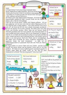 Sommerferien - Briefs English Grammar Worksheets, Grammar Book, Grammar And Vocabulary, Grammar Lessons, Deutsch Language, Zodiac Stories, German English, German Language Learning, German Words