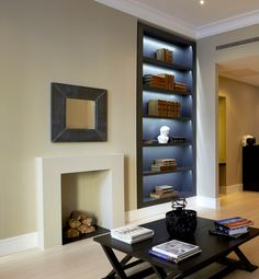 The Perfect London Apartment! #InteriorDesign project. Living space with bespoke back lit shelving; a focus on home decor, modern living and the finishing touches!