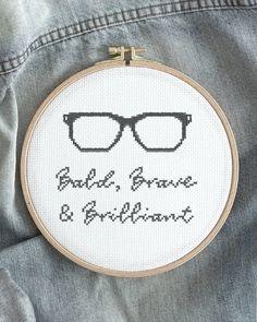 """""""Bald, brave and brilliant."""" Dad deserves to know the whole truth - right?👨🏼 Embroider him a beautiful gift for Fathers Day.🖤 """"Skallig, modig och lysande."""" Pappa förtjänar att veta hela sanningen - ellerhur?👨🏼 Brodera en vacker present till honom på fars dag.🖤"""