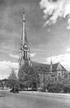 Vyborg, New Cathedral, Finnish Carelia. The New Cathedral was built in 1893 according to the project of the Vyborg architect. Edward Dippel. The Cathedral was the high - altitude dominant in the town Vyborg. Today on the Russian side of border. 21.04.2017 I installed a commemorative granite slab on the site of the New Cathedral.